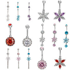 Belly Crystal Dangly Reverse Drop Body Piercing Belly Button Ring Navel Bars JE