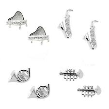 Pave Cubic Zirconia Piano, Horn, Sax, Trumpet Musical Instrument Earrings