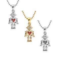 Cute Little Robot with Heart Necklace