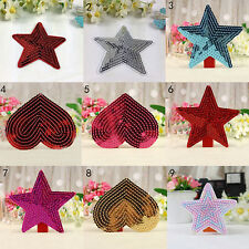 sequins heart motif iron/sew on embroidered patch Cloth badge applique diy   ST