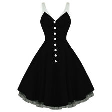 Hearts & Roses London Kitsch Black Vintage 50s Party Prom Swing Full Flare Dress