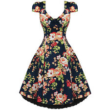 Womens Ladies New Vintage 1950s Vtg Navy Blue Floral Party Prom Evening Dress UK