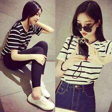 Women Gril Stripe Cotton Blend Short Sleeve T-shirt Shirt Tops Blouse Clothing