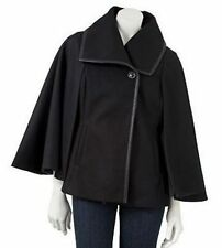 Apt 9 Black Double Breasted Faux Leather Trim Cape Coat