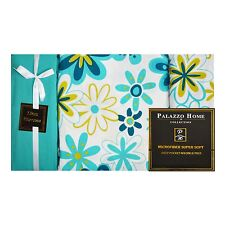"6-Piece Bed Sheet Set: Turquoise Flower Design, 16"" Pocket,  2 Extra Pillowcases"