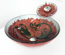"""Plus 16"""" Red Fish Pattern Bathroom Tempered Glass Vessel Sink Faucet Combo"""