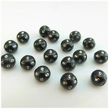 8MM 10MM BLACK ACRYLIC ROUND BEADS WITH CRYSTAL DESIGN FOR JEWELLERY MAKING