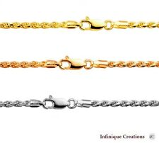 14k Gold Over 925 Sterling Silver Italian ROPE CHAIN Diamond Cut  necklace 2.5mm