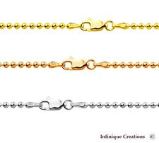 14k Gold Over 925 Sterling Silver Smooth Italian BALL BEAD Chain Necklace 2.2mm