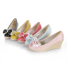 Cute Womens Middle Heels Shoes Shallow Mouth Platforms Bowknot Pumps US Size