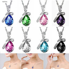 Rhinestone Chain Silver Necklace Women Pendant Crystal Heart Jewelry NEW