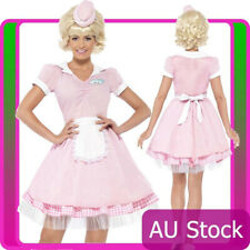 50s Diner Girl Costume Ladies 1950s 50's Rock n Roll Grease Waitress Fancy Dress