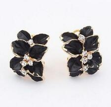 Fashion Womens Lady Gold Plated Flower Crystal Rhinestone Ear Stud/Clip Earrings