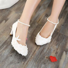 "Flat/2""/3""/4"" Heel White Ankle Pearls Lace Wedding Shoes Bridal Pumps High Heels"