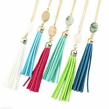 Fashion Gold Silver Plated 17 Colors Long Natural Stone Tassel Pendant Necklace