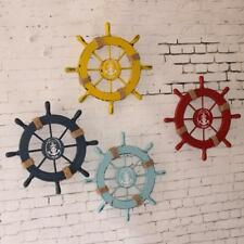Nautical Beach Wood Anchor Boat Pirate Ship Wheel Wall Hanging Plaque Room Decor