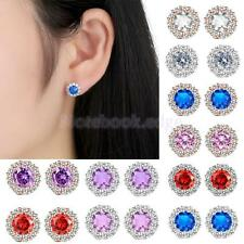 Zircon Earring Stud Plated Flower Design Round Earrings Women Jewellry