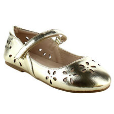 DOTTY Children Girls Round Toe Flower Shape Cut Out Mary Jane Ballet Flats