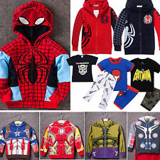 Superhero Hooded Coat T-shirt Pants Outfits Sportwear Kids Boys Toddler Clothing