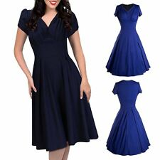 Women Vintage Flared Pleated Elegant Swing Retro Cocktail Evening Party Dress