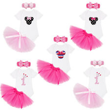 1st Birthday Baby Girl Minnie Mouse Romper Gift Tutu Dress Set 3Pc Xmas Costume