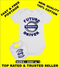 Baby Romper Suit PLUS a Baby Bib printed with FUTURE VOLVO DRIVER