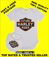 Baby Romper Suit PLUS a Baby Bib printed with FUTURE HARLEY RIDER