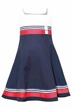 Bonnie Jean Girls Double Bow Nautical Resort Party Dress - Stripe Ribbon and Cor