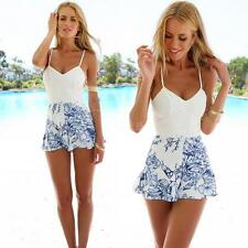 Sexy Women V Neck Backless Floral Playsuit Lace Floral Jumpsuit Rompers T5C9