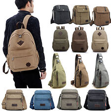 Men Vintage Canvas Satchel Travel Outdoor Backpack School Messenger Shoulder Bag