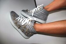 $750 DSQUARED2 7/37 9/39 Silver HighTops Glitter Couture Sneakers Runway ITALY