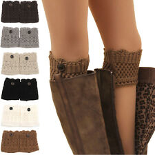 Women Ladies Winter Leg Warmers Button Crochet Knitted Boot Socks Toppers Cuff