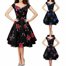 Women Vintage Floral Printed Rock Swing Retro Dress Evening Party Ball Prom