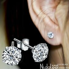 2016 New White Crystal Zircon Real 925 Sterling Silver Earrings Channel Brinco S