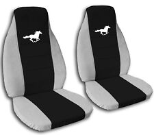 2008-2012 Ford Mustang White Horse Seat Covers Black Center Coupe Convertible