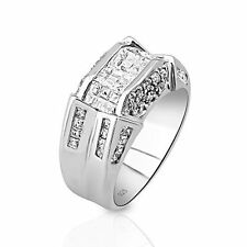 Men's Sterling Silver .925 Designer Ring  with 52  Cubic Zirconia (CZ) Stones