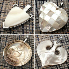 HAPPY BUDDHA Stylish Heart SHIELD Mother of Pearl Shell Pendant FREE POUCH