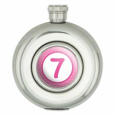 Round Stainless Steel 5oz Hip Flask Birthday Party Pink Dots