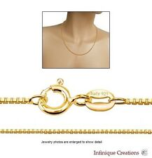 14K Yellow Gold Plated 925 Sterling Silver BOX CHAIN necklace 1mm
