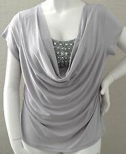 Xtra Luv Waterfall Pearl & Stone Stretch Top Blouse Grey Silver - Plus Size 3X