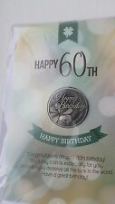 Lucky Coin Greeting Gift Card with envelope and message - Happy 60th Birthday
