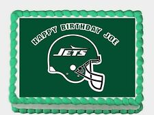 """NFL  JETS Edible image Cake topper decoration 7.5:""""x10"""" - personalized free!"""