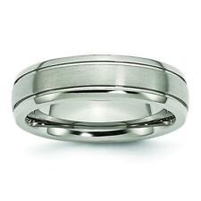 Chisel Titanium Grooved Edge 6mm Brushed and Polished Band Ring TB27