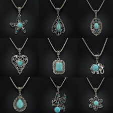 Fashion Vintage Tibetan Silver Turquoise Bib Crystal Pendant Chain Necklace TR