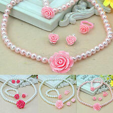 Girls Child Pearl Flower Shape Necklace Bracelet Ring Ear Clips Set Jewelry hgh