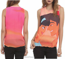 NEW Disney Princess Jasmine &  Aladdin Kiss Girls Tank Top Blouse Shirt JR Small