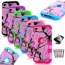 Triple Pink Tree Camo Hybird Impact Hard Case Cover for iPod Touch 4 4th Gen