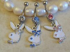 Gemmed Eye Playboy Bunny With A Bow Tie  Dangle Belly/Navel Ring.