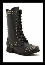 "CA Collection by Carrini Combat Boot Studded Laced Zipper 1.25"" heel Black SZ 9"