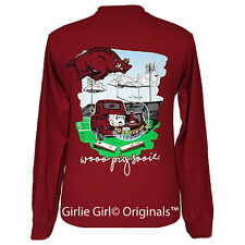 "Girlie Girl Originals ""Tailgates & Touchdowns Arkansas"" Long Sleeve Unisex Fit T"